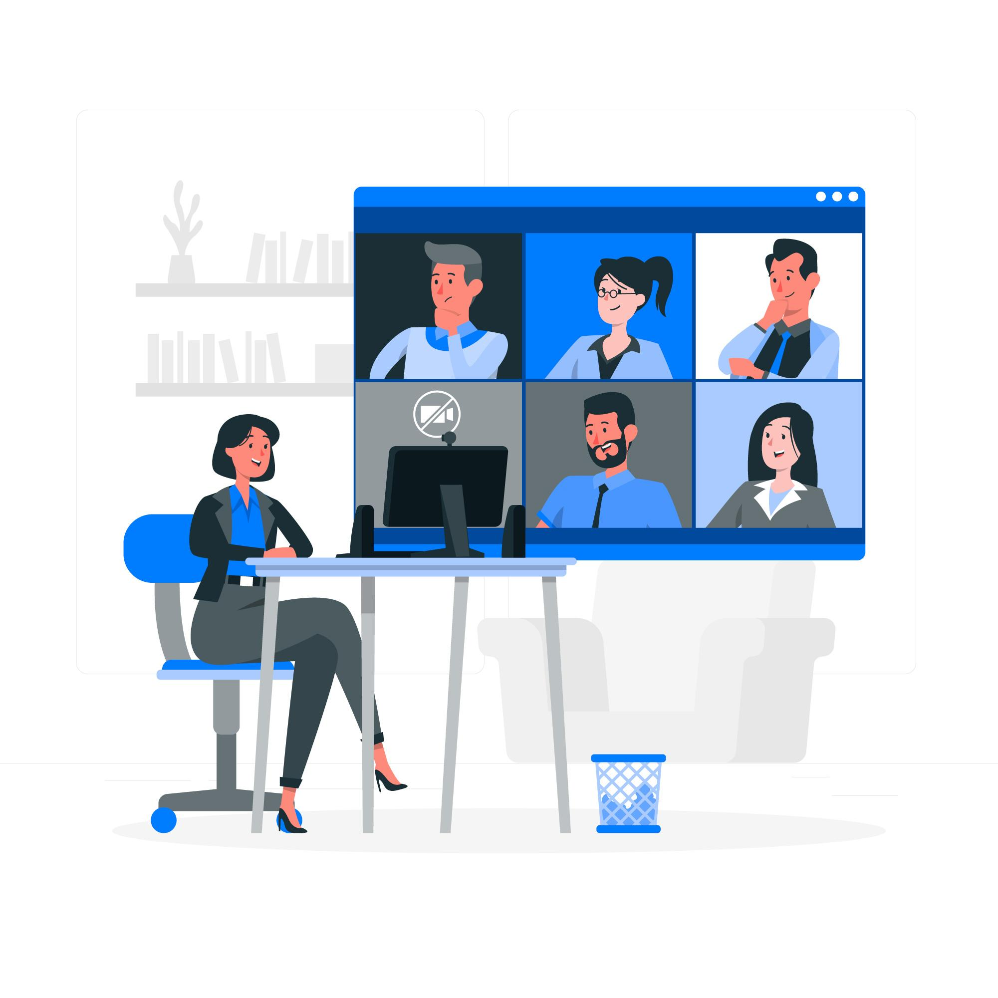 Illustration of a group of people meeting virtually by Zoom